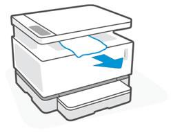Извлечение замятой бумаги из области выходного лотка