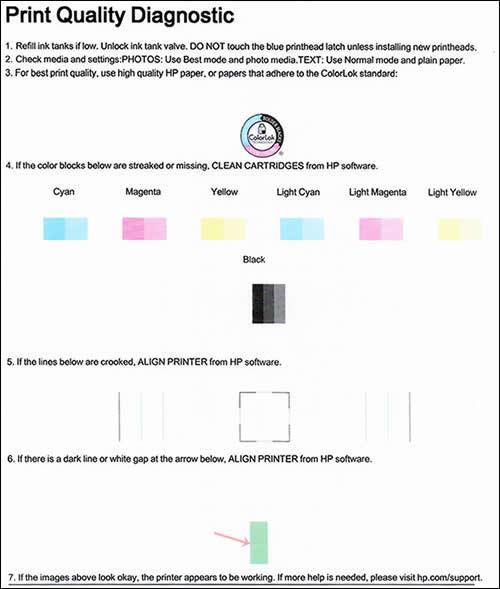 Página de diagnóstico de calidad de impresión
