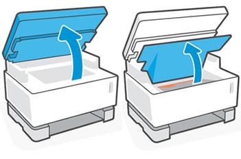 Поднятие сканера и верхней крышки
