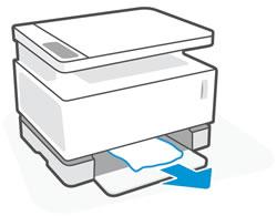 Извлечение замятой бумаги из области входного лотка