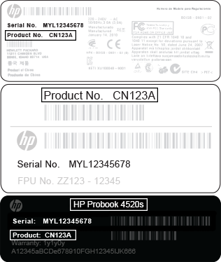 HP product number locations