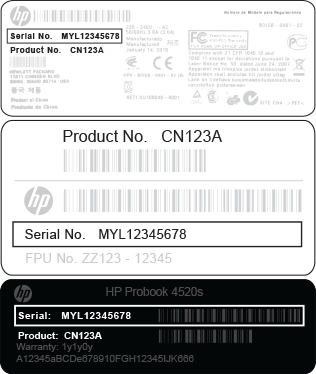 HP product serial number locations